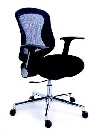 61672734affda Kancelárska stolička, s opierkami, čierne čalúnenie, sieťové operadlo,  chrómový podstavec, MaYAH